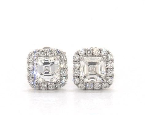 18K White Gold Asscher Cut Halo Diamond Stud Earrings