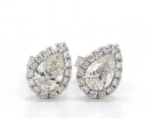 18K White Gold Pear Shape Halo Diamond Stud Earrings