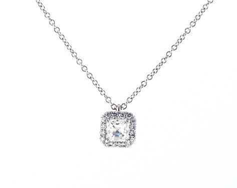 18K White Gold Halo Asscher Cut Diamond Necklace