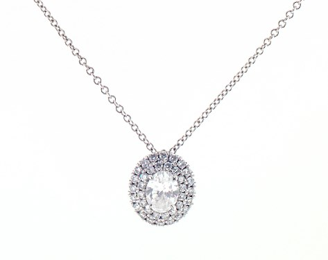 Double Halo Oval Diamond Necklace by James Allen