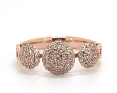 14K Rose Gold Buttons Pave Diamond Ring