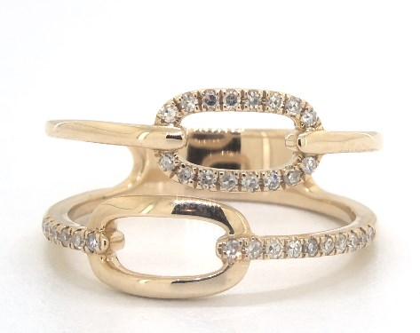 14K Yellow Gold Single Chain Link Pave Diamond Double Row Ring
