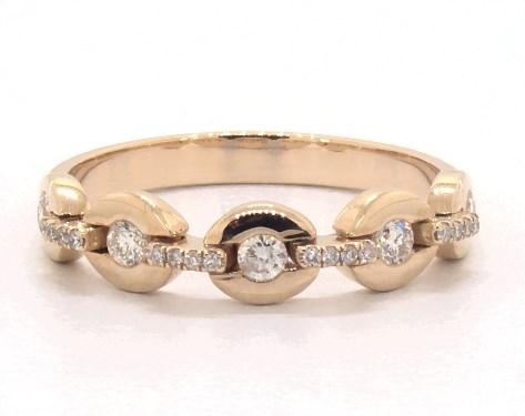 14K Yellow Gold Flexible Chain Diamond Ring