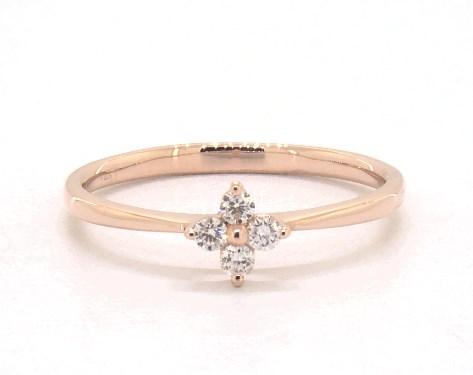 14K Rose Gold Single Clover Diamond Ring
