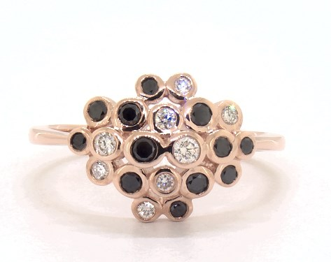 14K Rose Gold White and Black Diamond Bubble Ring