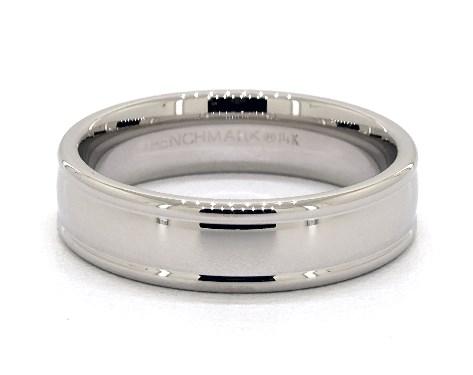 Platinum 6mm Grooved Edge Comfort Fit Wedding Band