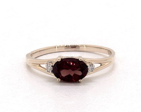 Oval Garnet and Diamond Accent Birthstone Ring by James Allen