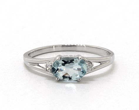 Aquamarine and Diamond Accent Birthstone Ring by James Allen