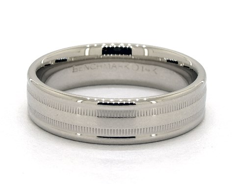14K White Gold 6mm Milgrained Edge Comfort Fit Wedding Band