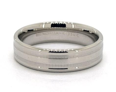 14K White Gold 6mm Milgrained Edge Comfort Fit Wedding Band