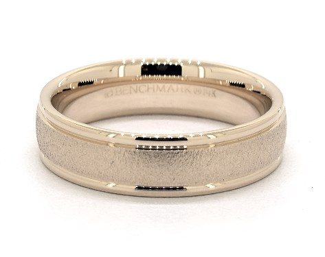 14K Yellow Gold 6mm Wire Finish Comfort Fit Wedding Band