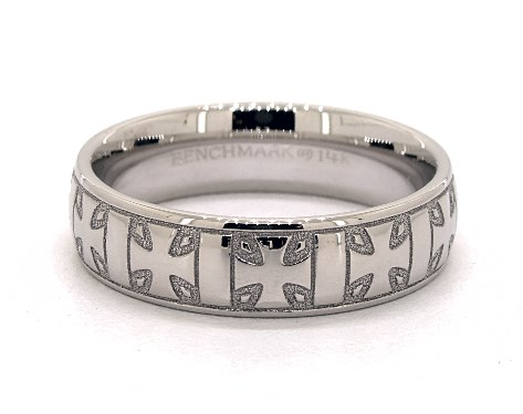 14K White Gold 6mm Iron Cross Comfort Fit Wedding Band