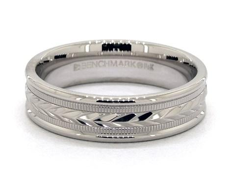 14K White Gold 6mm Arrow Design Comfort Fit Wedding Band