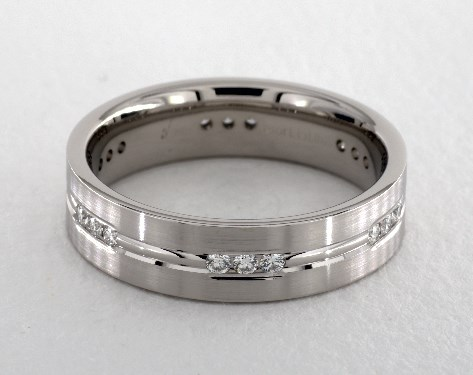 14K White Gold 6mm Etched Channel Set Diamond Wedding Ring