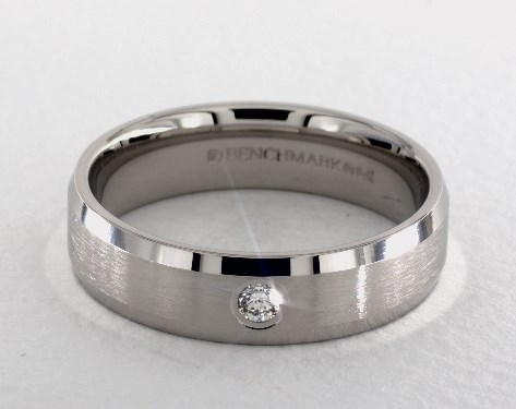14K White Gold 6mm Beveled Bezel Set Diamond Wedding Ring