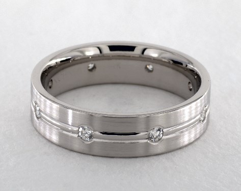 Platinum 6mm Etched Bezel Set Diamond Wedding Ring
