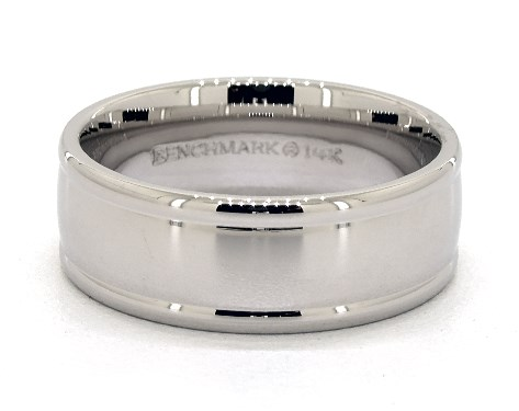 Platinum 8mm Grooved Edge Comfort Fit Wedding Band