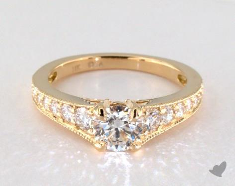 18K Yellow Gold Pave Setting