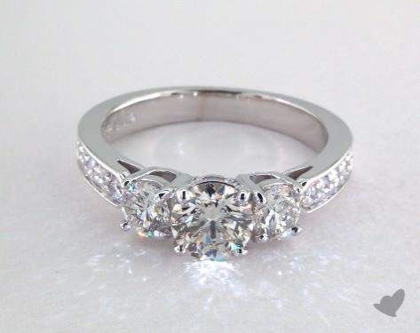 14K White Gold Three Stone Setting