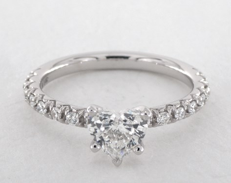 14k white gold pave setting - Heart Shaped Wedding Rings