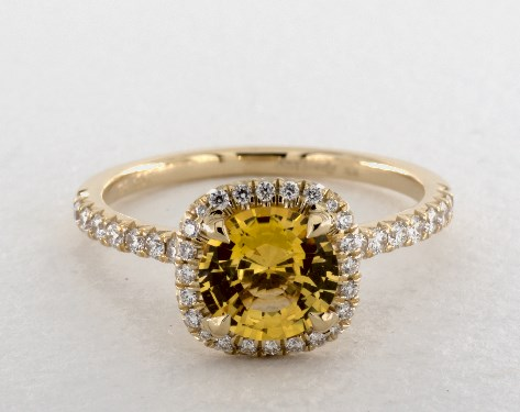 18K Yellow Gold Halo Setting