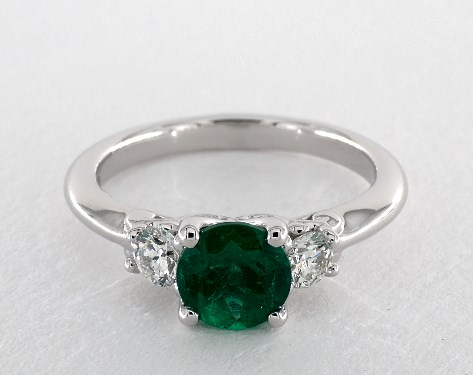 three with cut stone wedding emma rings emerald engagement diamond ring diamonds
