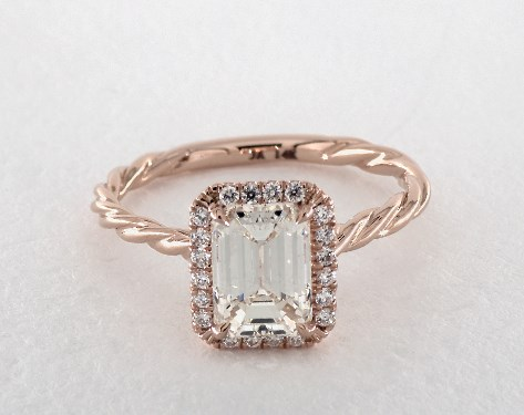 14K Rose Gold Halo Setting