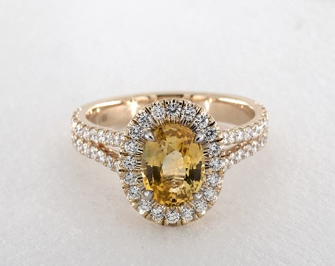 14K Yellow Gold Halo Setting