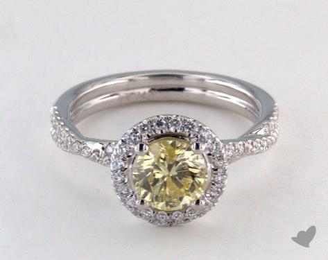 14K White Gold  Halo Engagement Ring