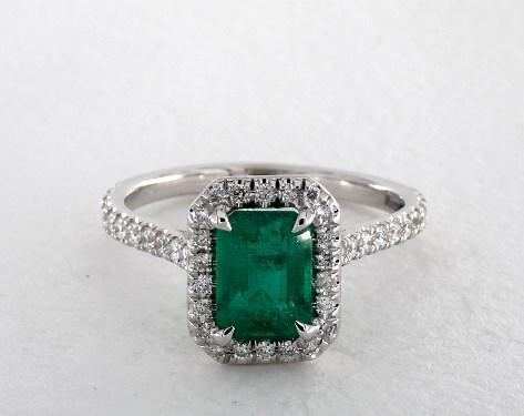 18k white gold halo setting - Emerald Wedding Rings