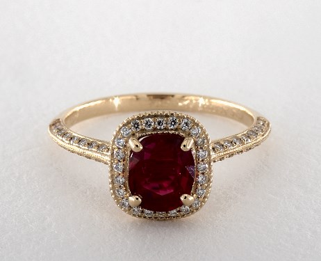 18k yellow gold halo setting - Ruby Wedding Ring