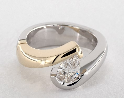 14k white gold tension setting - Pear Shaped Wedding Ring