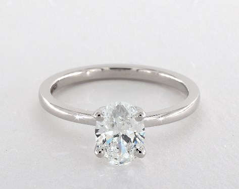 14k white gold solitaire setting - Oval Wedding Rings