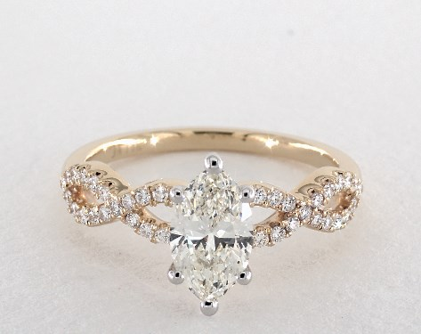 Charming 14K Yellow Gold Pave Setting