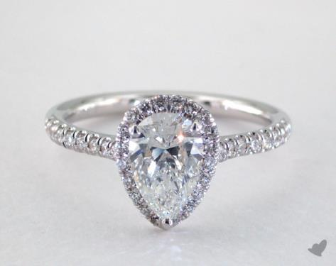 18k white gold halo setting - Pear Shaped Wedding Ring