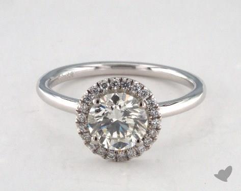 18K White Gold  Halo Engagement Ring