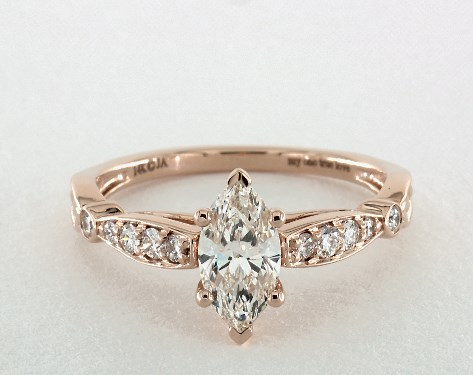 14k rose gold vintage setting - Marquise Wedding Rings