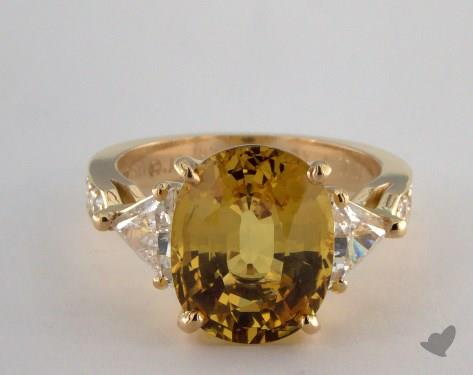 18K Yellow Gold Three Stone Setting