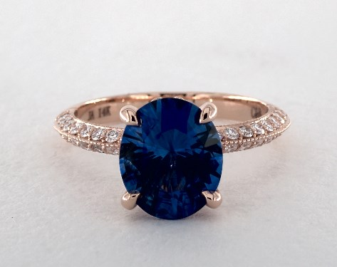 14k rose gold pave setting - Sapphire Wedding Rings