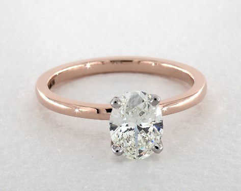 14k rose gold solitaire setting - Oval Wedding Rings