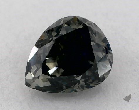 0.66 Carat FANCY DARK BLUISH GRAY Pear Shape Diamond
