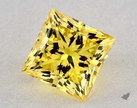 Lab-Created 1.11 Carat FANCY VIVID  YELLOW-VS1 Princess Cut Diamond