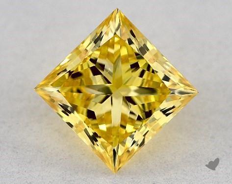 Lab-Created 1.19 Carat FANCY VIVID  YELLOW-VS2 Princess Cut Diamond