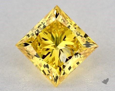 Lab-Created 1.21 Carat FANCY VIVID  YELLOW-VVS2 Princess Cut Diamond