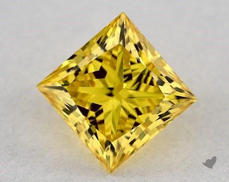 Lab-Created 1.35 Carat FANCY VIVID  YELLOW-VS1 Princess Cut Diamond