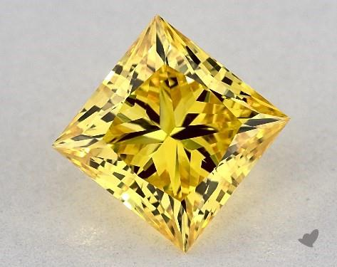 Lab-Created 1.74 Carat FANCY VIVID  YELLOW-VS1 Princess Cut Diamond