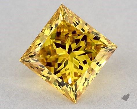 Lab-Created 1.82 Carat FANCY VIVID  YELLOW-VS1 Princess Cut Diamond