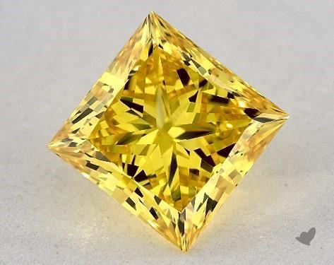 Lab-Created 1.85 Carat FANCY VIVID  YELLOW-VS1 Princess Cut Diamond