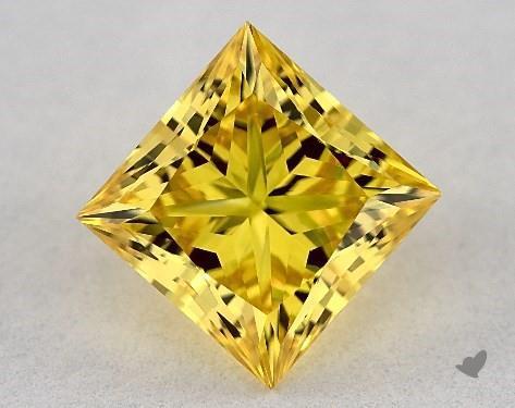 Lab-Created 1.90 Carat FANCY VIVID  YELLOW-VS1 Princess Cut Diamond