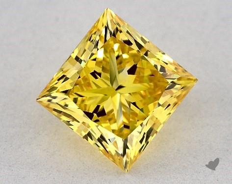 Lab-Created 2.02 Carat FANCY VIVID  YELLOW-VVS2 Princess Cut Diamond